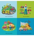 Tractor Driver Flat Set vector image vector image