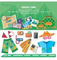 Travel time Flat style travel blog icon set vector image