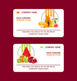 tropical fruits set of business cards vector image vector image