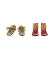 two pair colorful autumn shoes hand drawn in vector image