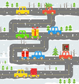 Winter road with cars vector image vector image