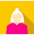 Woman with gray hair in pink pullover icon vector image