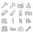 woodwork carpentry tools icons vector image vector image