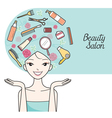 Young Woman With Hair Salon Equipment Set On Head vector image vector image