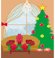 living room at Christmas time vector image
