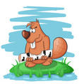 cartoon funny beaver gnawing on a tree vector image