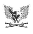 horned helmet with crossed swords and wings vector image