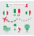 Italy flag banner and icon patterns set vector image