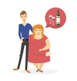 Thin man and fat woman are hugging vector image