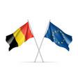 belgium and european union waving flags vector image