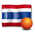 A ball in front of the flag of Thailand vector image vector image