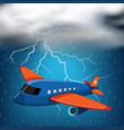 airplane flying on stormy night with thunders and vector image vector image