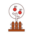 apple tree isolated icon vector image vector image