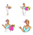 avatar of blonde overweight woman shopping vector image vector image
