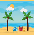 beach palm tree ball bucket and shovel sand sunny vector image vector image