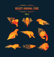 beast animal flame set vector image vector image