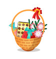 big wood gift basket with sweet candy chocolate vector image vector image