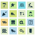 building icons set collection of truck measure vector image vector image