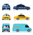 car view delivery truck police automobile and vector image