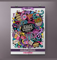 cartoon colorful hand drawn doodles holiday poster vector image