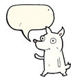 cartoon little dog waving with speech bubble vector image