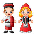 cartoon scottish couple wearing traditional costum vector image