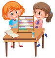 children learning math with abacus vector image