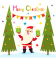 christmas greeting card with cartoon santa claus vector image vector image