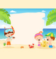 cute summer kids with blank paper vector image