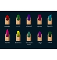 Different nail shapes and polish colors vector image