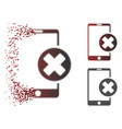 dissolved pixelated halftone phone cancel icon vector image vector image