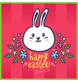 Easter card with bunny and flowers vector image vector image