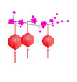 floral with red chinese lanterns on white vector image