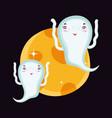 flying ghosts in night halloween vector image