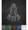 girl with purchases icon Hand drawn vector image