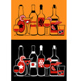 glasses and bottles collection vector image