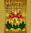Gold Christmas Card with hand drawn lettering vector image vector image