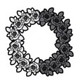 Gray scale silhouette crown flowered roses with