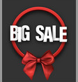 grey big sale card with bow vector image vector image