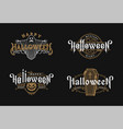 halloween night set vintage style emblems on vector image vector image