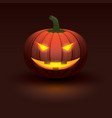 halloween pumpkin with light glowing in smiling vector image vector image