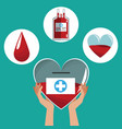 hand holding heart donation icons care vector image vector image