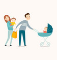 happy family walking cartoon eps 10 vector image