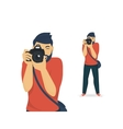 Happy photographer is taking a photo vector image vector image
