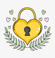 heart padlock with branches leaves and hearts vector image vector image