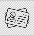 id card icon in transparent style identity tag on vector image vector image