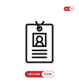 identity card icon identificationid symbol vector image vector image