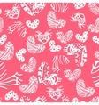 Ink zentangle heart seamless pattern vector image