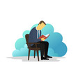 man reading book sitting on chair ebook reader vector image