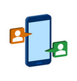 mobile chatting symbol flat isometric icon or vector image vector image